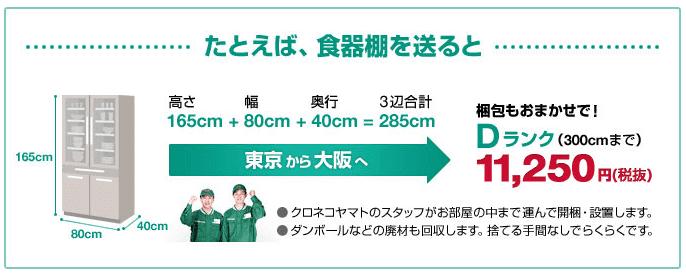 東京から大阪へ送った場合の料金事例